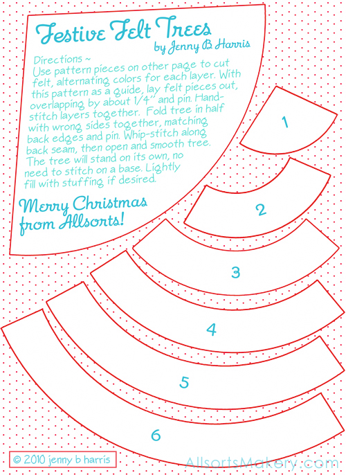 Festive felt christmas trees free pattern and tutorial allsorts print the numbered pattern pieces and use them to cut out your felt i used my scallop pinking shears to cut the bottom of each maxwellsz