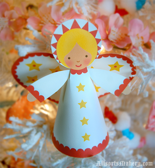 Starry christmas angels a sweet paper printable to make for Angel tree decoration template
