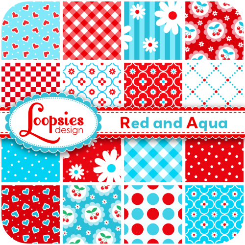 Red and aqua digital paper